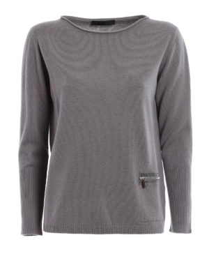 Fabiana Filippi: boat necks - Zipped pocket boat neck pullover
