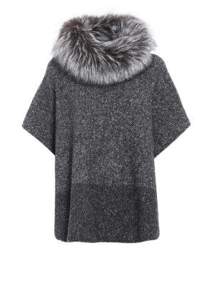 Fabiana Filippi: Capes &  Ponchos - Fur trimmed collar merino poncho