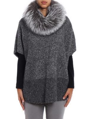 Fabiana Filippi: Capes &  Ponchos online - Fur trimmed collar merino poncho