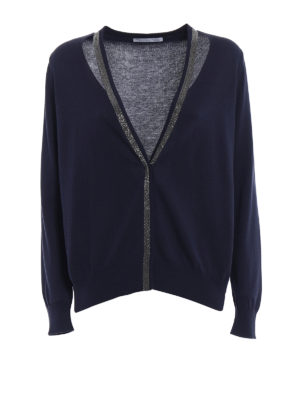 Fabiana Filippi: cardigans - Cotton cardigan with mini studs