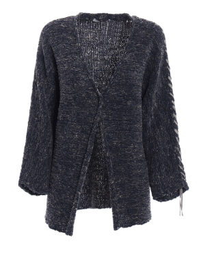 Fabiana Filippi: cardigans - Denim effect cotton ribbon cardigan