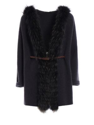 Fabiana Filippi: cardigans - Fox fur trim cashmere cardigan