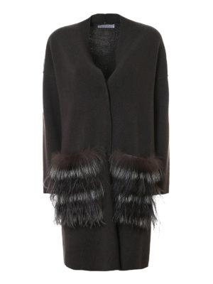 Fabiana Filippi: cardigans - Fur patch pocket long cardigan
