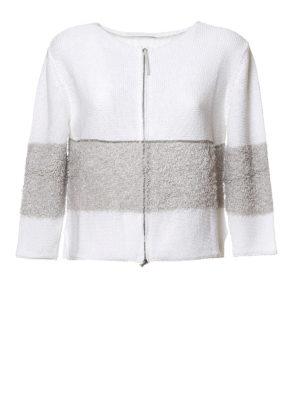 Fabiana Filippi: cardigans - Furry insert cotton cardigan
