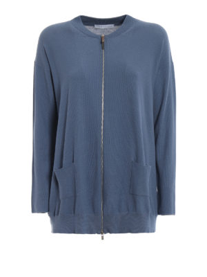 Fabiana Filippi: cardigans - Knitted cotton pique zip cardigan