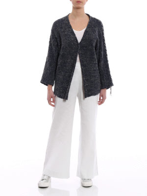Fabiana Filippi: cardigans online - Denim effect cotton ribbon cardigan