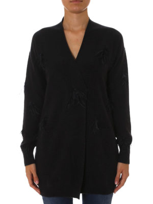 Fabiana Filippi: cardigans online - Feather detail wool blend cardigan