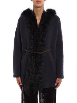 Fabiana Filippi: cardigans online - Fox fur trim cashmere cardigan