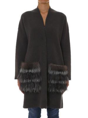 Fabiana Filippi: cardigans online - Fur patch pocket long cardigan