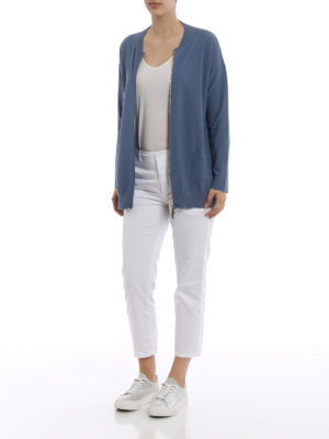 Fabiana Filippi: cardigans online - Knitted cotton pique zip cardigan