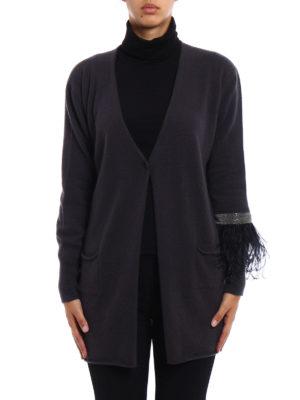 Fabiana Filippi: cardigans online - Ostrich feathers cashmere cardigan