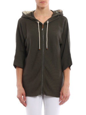 Fabiana Filippi: cardigans online - Zipped hooded cotton cardigan