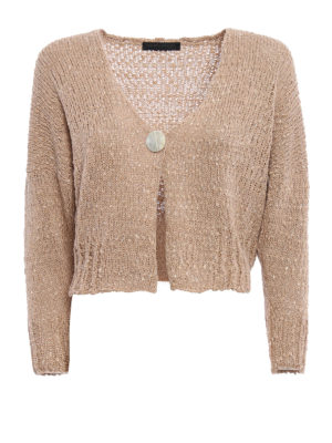 Fabiana Filippi: cardigans - Uneven knitted cotton crop cardigan