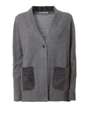Fabiana Filippi: cardigans - Wool cardigan with velvet pockets