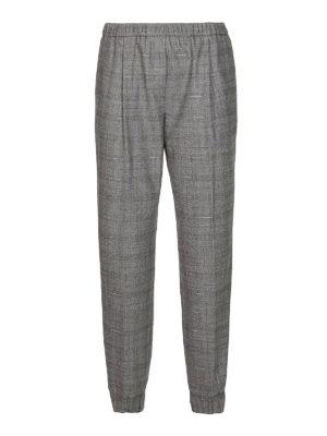 FABIANA FILIPPI: pantaloni casual - Pantaloni in fresco lana check con elastico