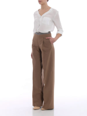 Fabiana Filippi: casual trousers online - Cotton blend palazzo trousers