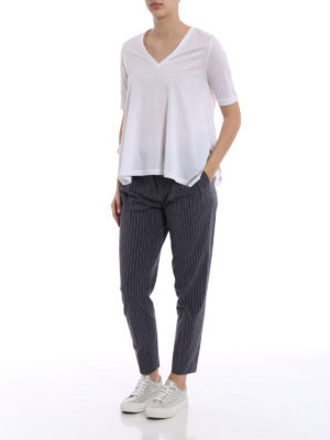 Fabiana Filippi: casual trousers online - Darts detailed cotton trousers