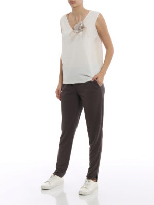 Fabiana Filippi: casual trousers online - Gubbio jogging fit jersey trousers