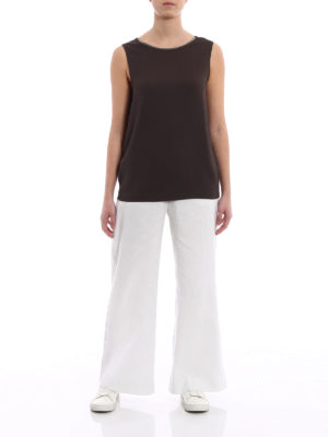 Fabiana Filippi: casual trousers online - Linen and cotton palazzo trousers
