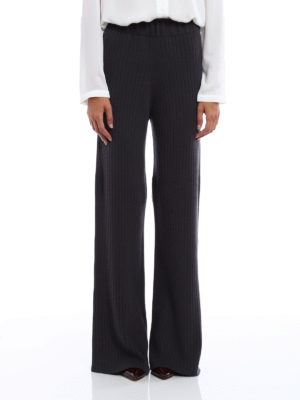 Fabiana Filippi: casual trousers online - Ribbed cashmere flared trousers