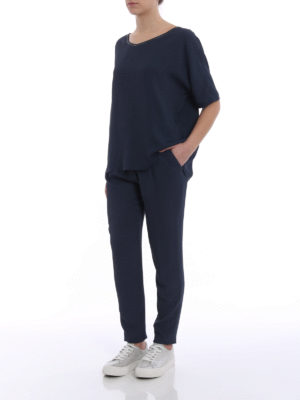 Fabiana Filippi: casual trousers online - Spello blue jogging pants