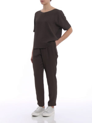 Fabiana Filippi: casual trousers online - Spello brown jogging pants
