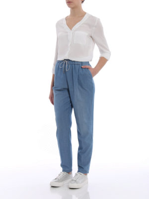 Fabiana Filippi: casual trousers online - Spello cotton and cashmere trousers