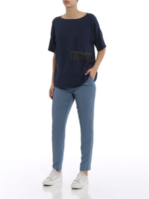 Fabiana Filippi: casual trousers online - Spello pull on crepe trousers