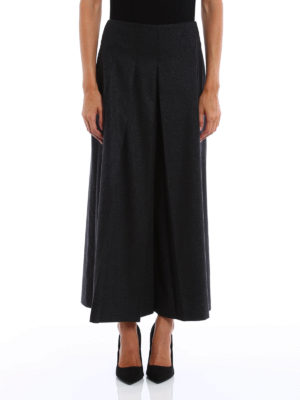 Fabiana Filippi: casual trousers online - Wool and cashmere pleated culottes