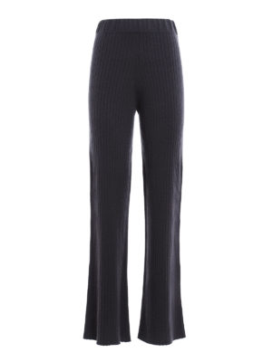 Fabiana Filippi: casual trousers - Ribbed cashmere flared trousers