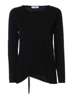 Fabiana Filippi: crew necks - Jewel drawstring black wool sweater
