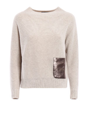 Fabiana Filippi: crew necks - Laminated suede pocket sweater
