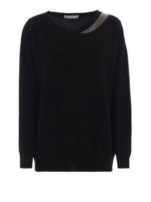 FABIANA FILIPPI: maglia collo rotondo - Maglia in lana merino nera con monile