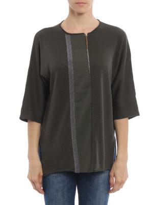 Fabiana Filippi: crew necks online - Embellished zipped crewneck sweater