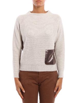 Fabiana Filippi: crew necks online - Laminated suede pocket sweater