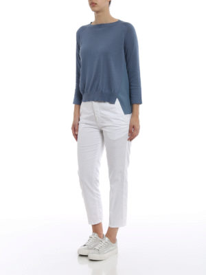 Fabiana Filippi: crew necks online - Silk panelled cotton crewneck