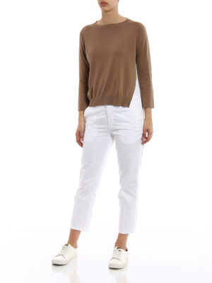 Fabiana Filippi: crew necks online - Silk panelled cotton sweater
