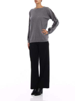 Fabiana Filippi: crew necks online - Velvet bands grey merino sweater