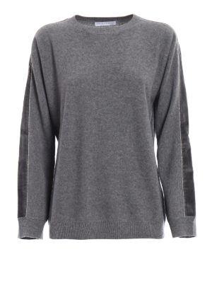 Fabiana Filippi: crew necks - Velvet bands grey merino sweater