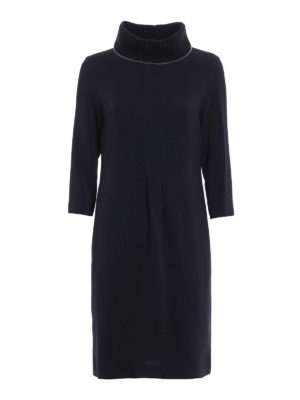 Fabiana Filippi: knee length dresses - Cady dress with knitted collar