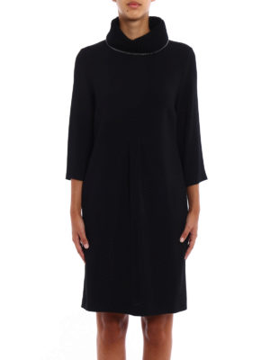 Fabiana Filippi: knee length dresses online - Cady dress with knitted collar