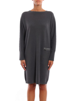 Fabiana Filippi: knee length dresses online - Soft and warm straight line dress