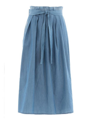 Fabiana Filippi: Knee length skirts & Midi - Cashmere blend chambray skirt