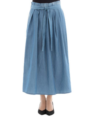 Fabiana Filippi: Knee length skirts & Midi online - Cashmere blend chambray skirt