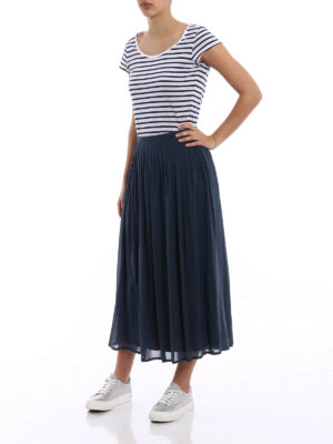 Fabiana Filippi: Long skirts online - Pleated stretch silk long skirt