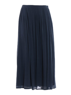 Fabiana Filippi: Long skirts - Pleated stretch silk long skirt