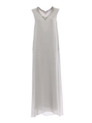 Fabiana Filippi: maxi dresses - Embellished stretch silk maxi dress