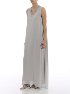 Fabiana Filippi: maxi dresses online - Embellished stretch silk maxi dress