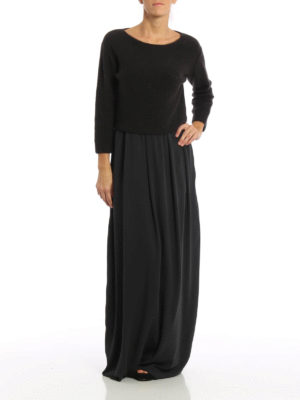 Fabiana Filippi: maxi dresses online - Knitted sweater detailed silk dress