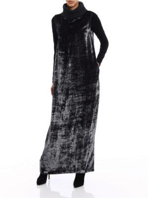 Fabiana Filippi: maxi dresses online - Rib-knitted collar velvet dress